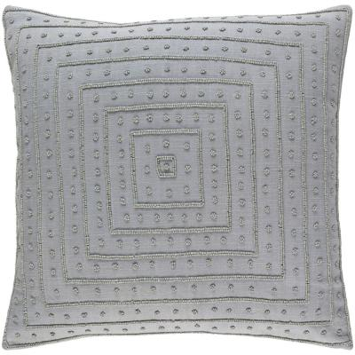 Athelstane Medium Gray Solid Polyester 22 in. x 22 in. Throw Pillow