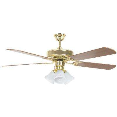 Heritage Home Series 52 in. Indoor Polished Brass Ceiling Fan