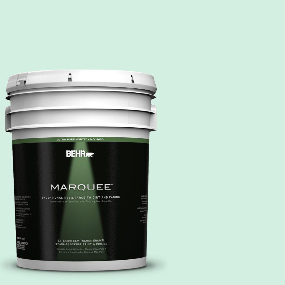 BEHR MARQUEE 5-gal. #480C-2 Pastel Jade Semi-Gloss Enamel Exterior Paint