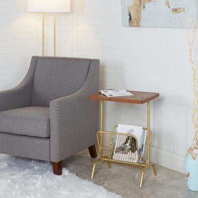 Ashton Brown and Gold Side Table with Large Magazine Rack