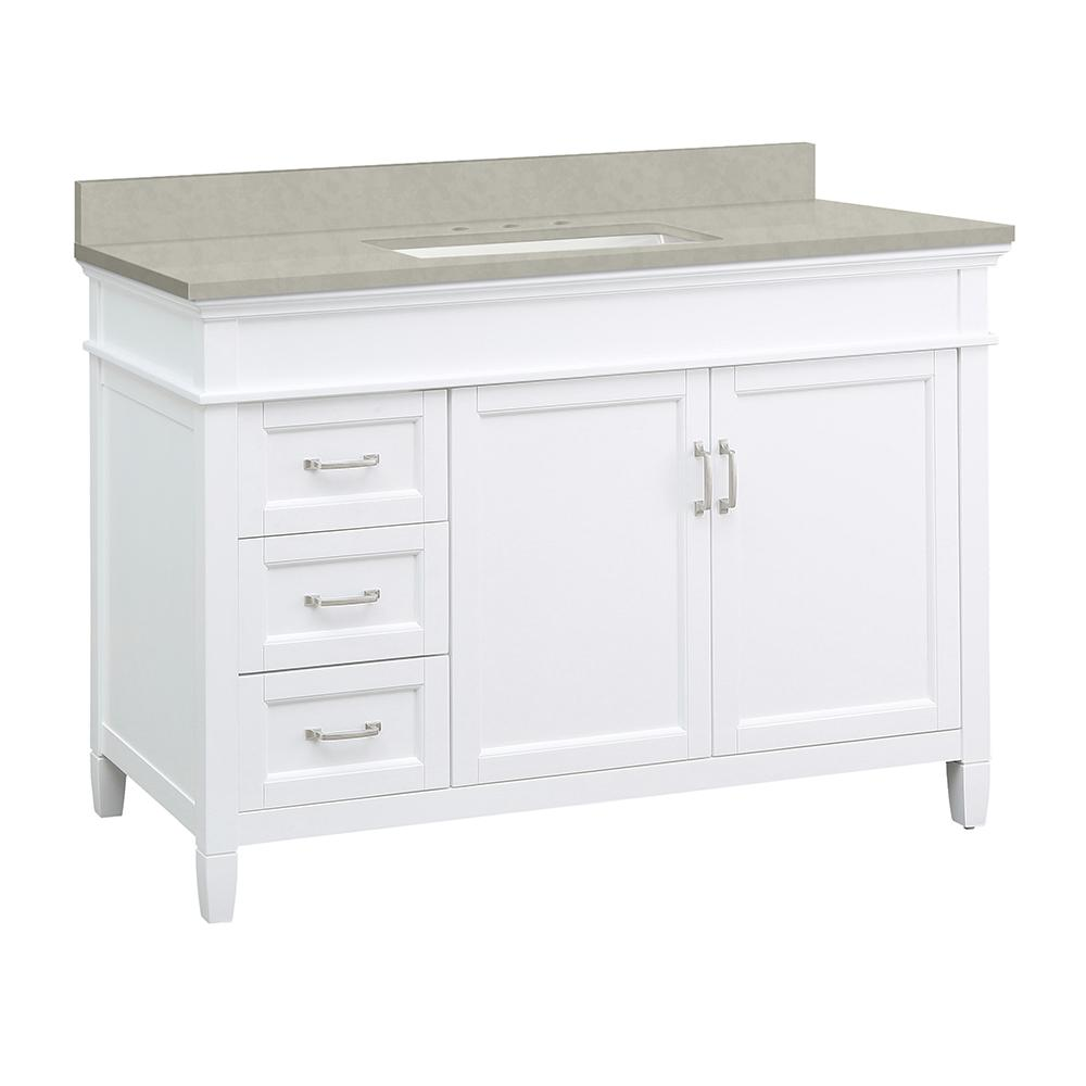 Home Decorators Collection Ashburn 49 in. W x 22 in. D Vanity Cabinet in White with Engineered Marble Vanity Top in Dunescape with White Sink