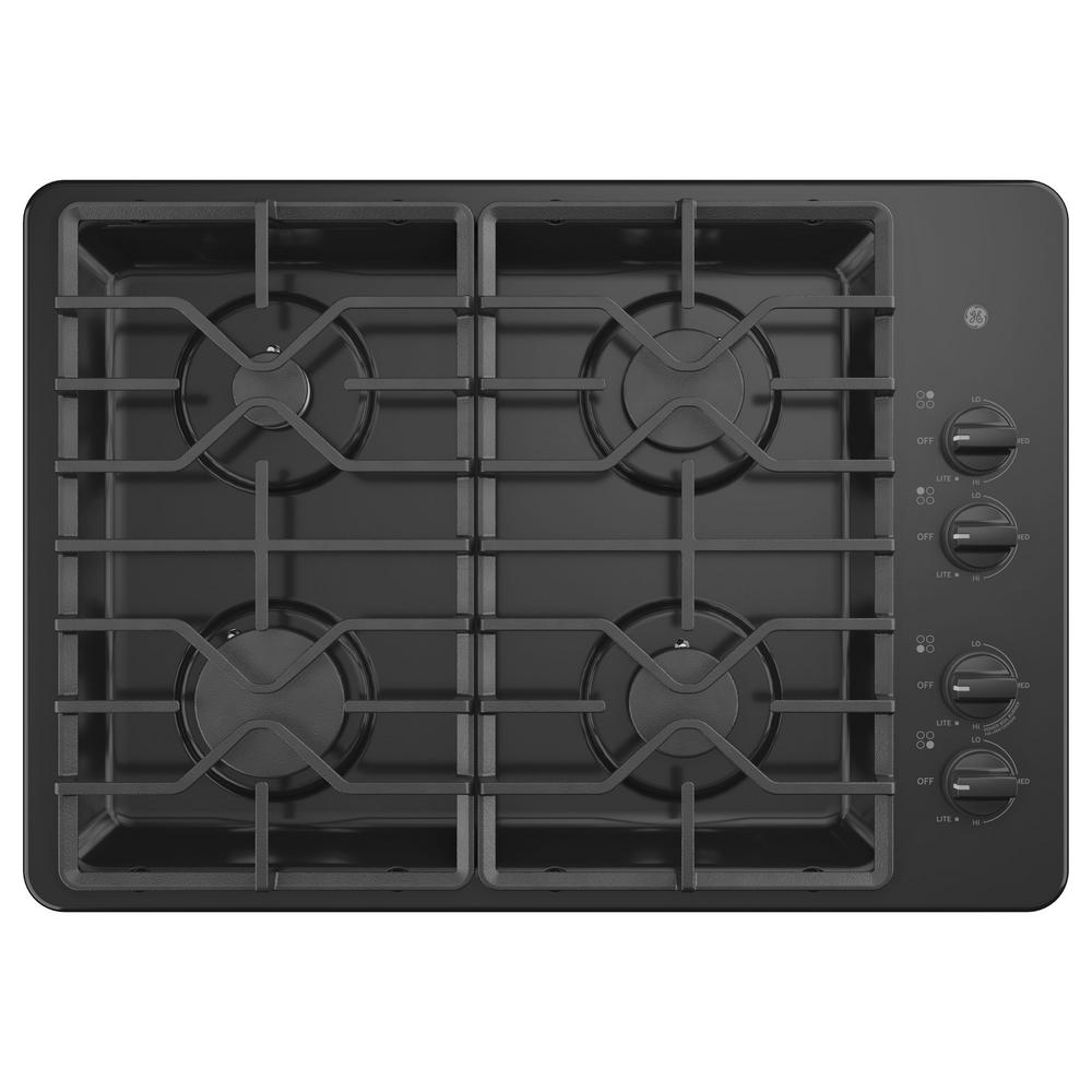 30 in. Built-In Gas Cooktop in Black with 4-Burners Including Power