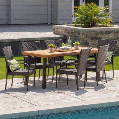 Noble House Malani 7-Piece Wood and Wicker Outdoor Dining Set with Stacking Chairs