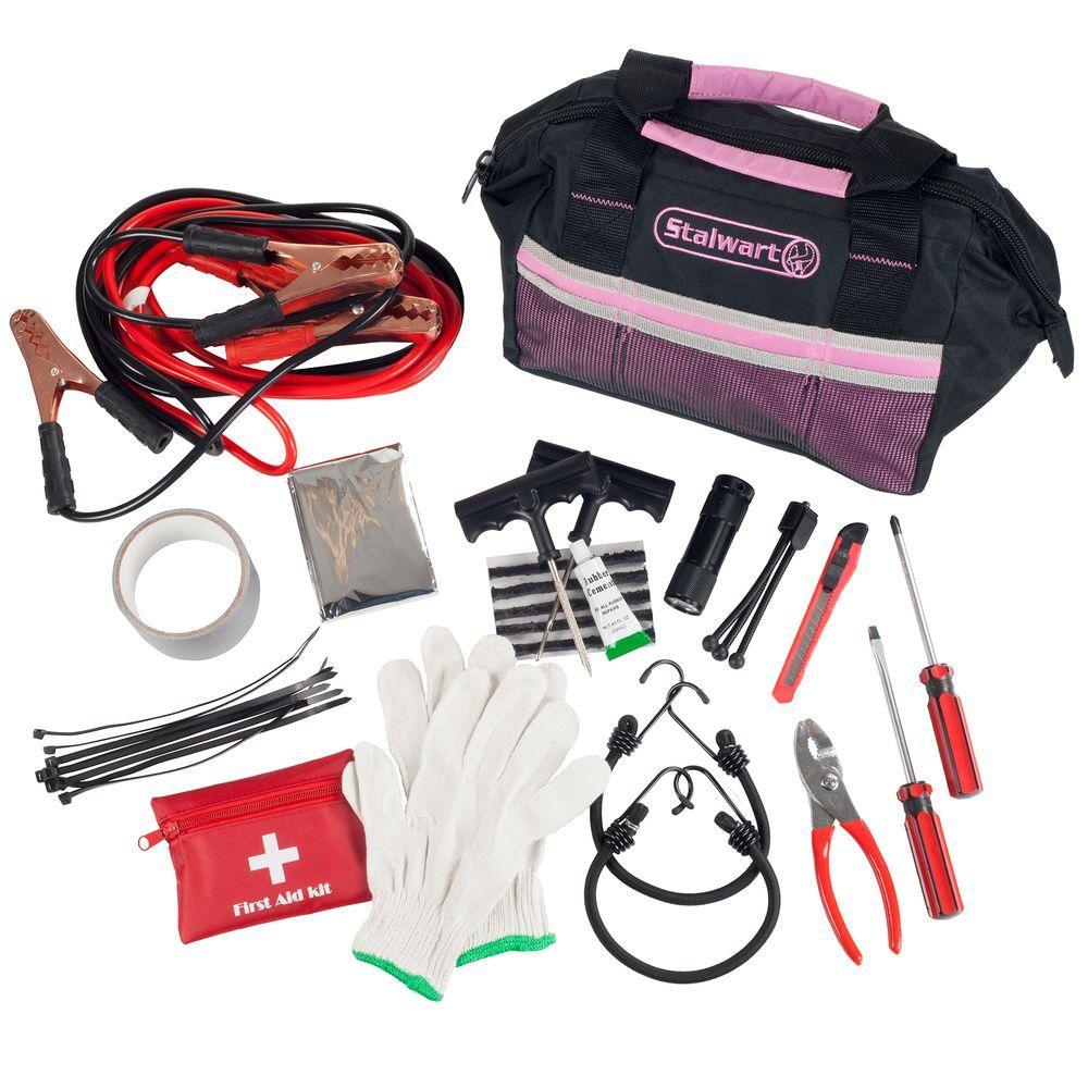 55-Piece Pink Emergency Roadside Kit with Travel Bag