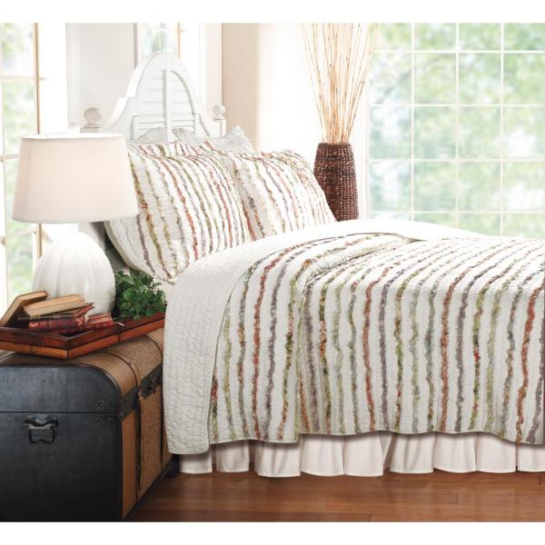 Greenland Home Fashions Bella Ruffle 2-Piece Multi Twin Quilt Set GL-1104YT