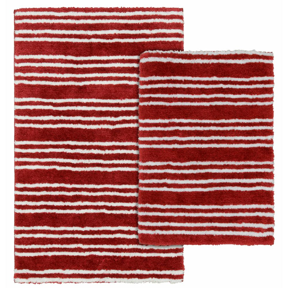 Garland Rug Baha Mar Chili Red White 21 In X 34 In Striped Nylon 2 Piece Bath Mat Set Ba320w2p04i4 The Home Depot