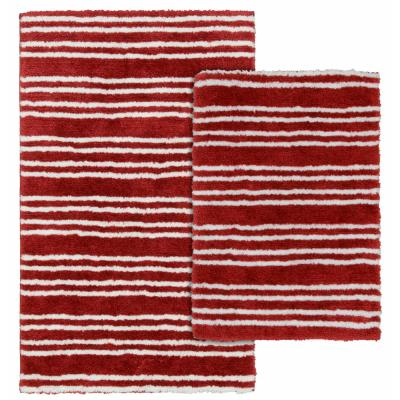Baha Mar Chili Red/White 21 in. x 34 in. Striped Nylon 2-Piece Bath Mat Set