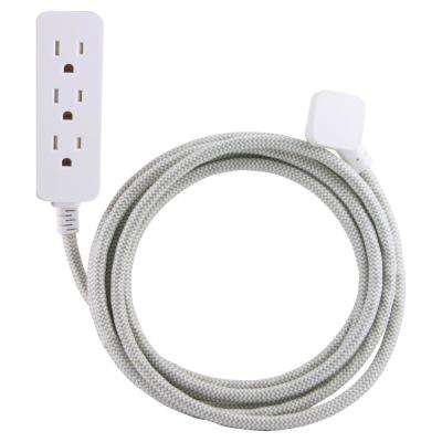 10 ft. Decor Extension Cord with 3 Grounded Outlets Surge Protection, Grey/White