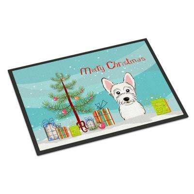 18 in. x 27 in. Indoor/Outdoor Christmas Tree and Westie Door Mat