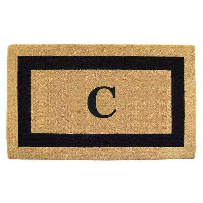 Single Picture Frame Black 22 in. x 36 in. HeavyDuty Coir Monogrammed C Door Mat