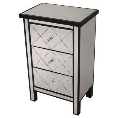 Shelly Assembled 20 in. x 20 in. x 13 in. Black Wood Accent Storage Cabinet with 3 Mirrored Drawers