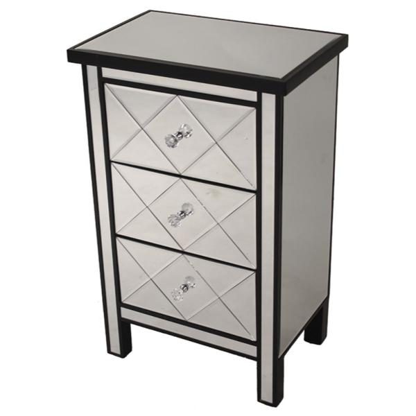 HomeRoots Shelly Assembled 20 in. x 20 in. x 13 in. Black Wood Accent Storage Cabinet with 3 Mirrored Drawers