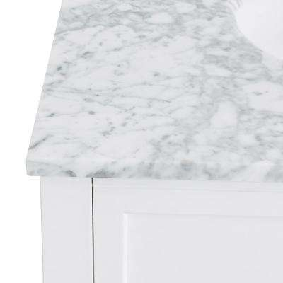Parkerton 30 in. W x 22.25 in. D Bath Vanity in White with Marble Vanity Top in Soft Gray with White Basin