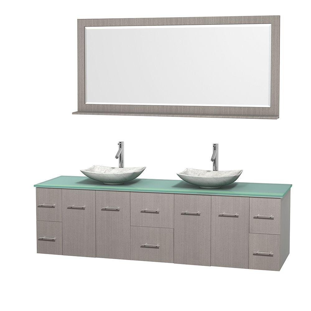 Wyndham Collection Centra 80 in. Double Vanity in Gray Oak with Glass Vanity Top in Green, Carrara White Marble Sinks and 70 in. Mirror