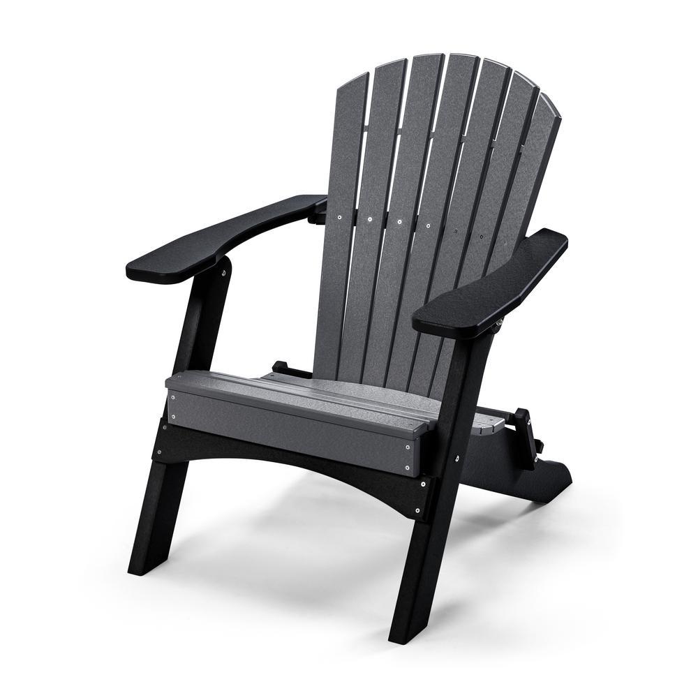 Perfect Choice Classic Gray Black Folding Metal Adirondack Chair Cl101n Gybk The Home Depot