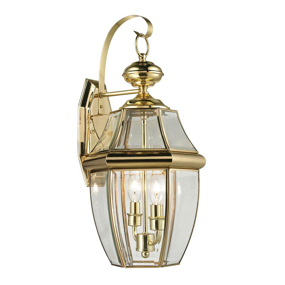 Titan Lighting Ashford 2 Light Outdoor Brass And Gold