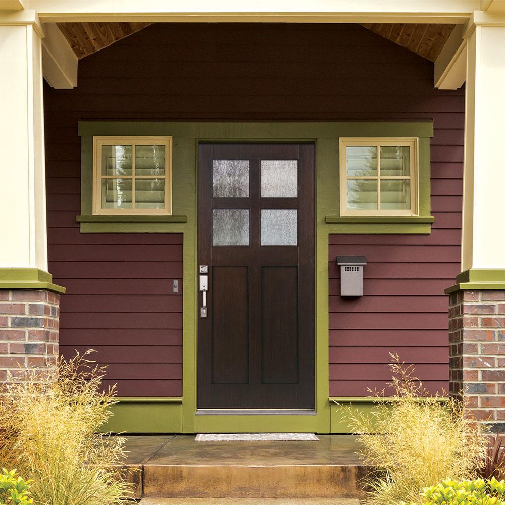 buy online b2c48 388c5 Feather River Doors 37.5 in. x 81.625 in. 4-Lite Cord Craftsman Stained  Cocoa Teak Right-Hand Inswing Fiberglass Prehung Front Door