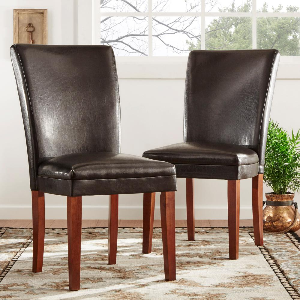 Dark Brown Leather Side Chair (Set of 2)