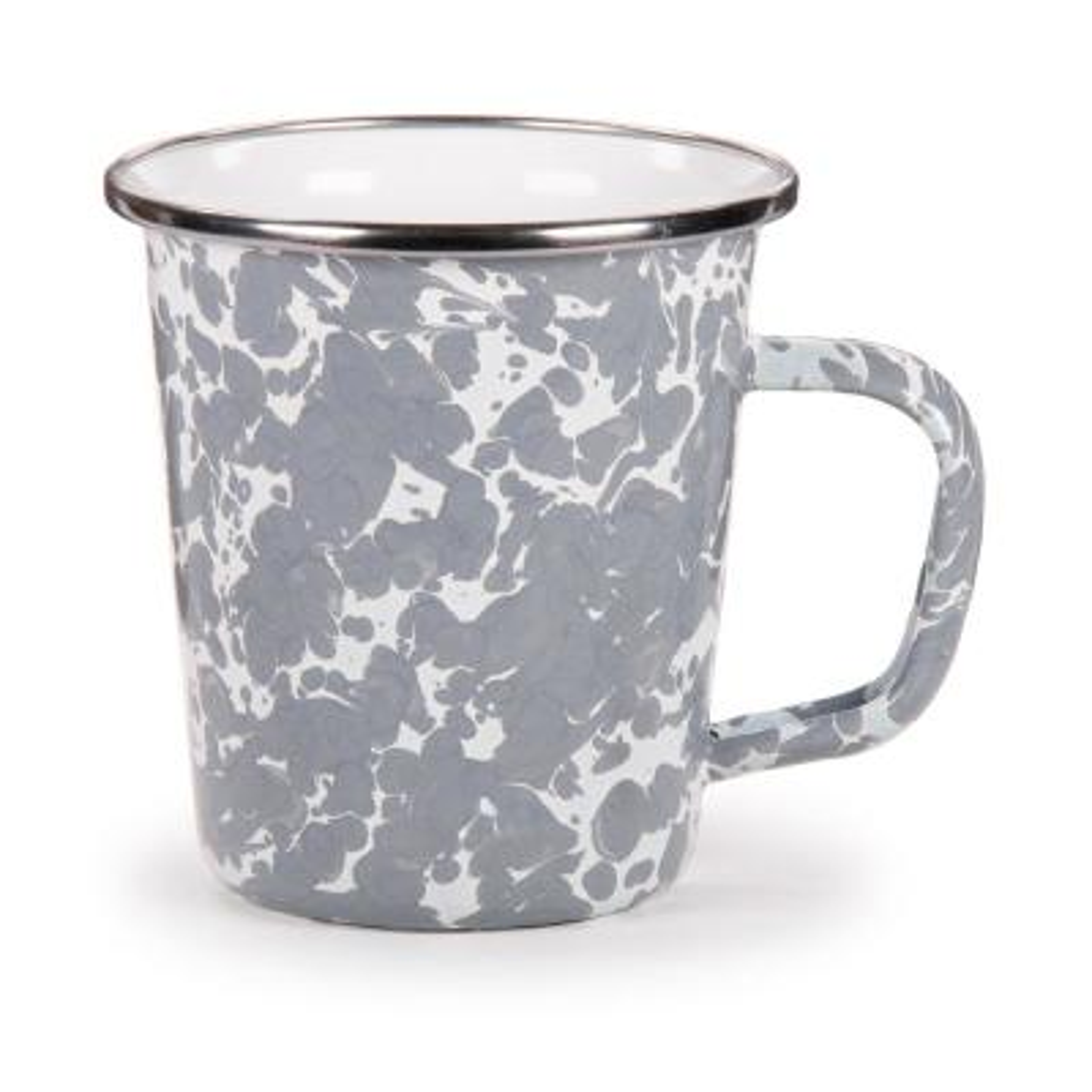 Grey Swirl 16 oz. Enamelware Latte Mug