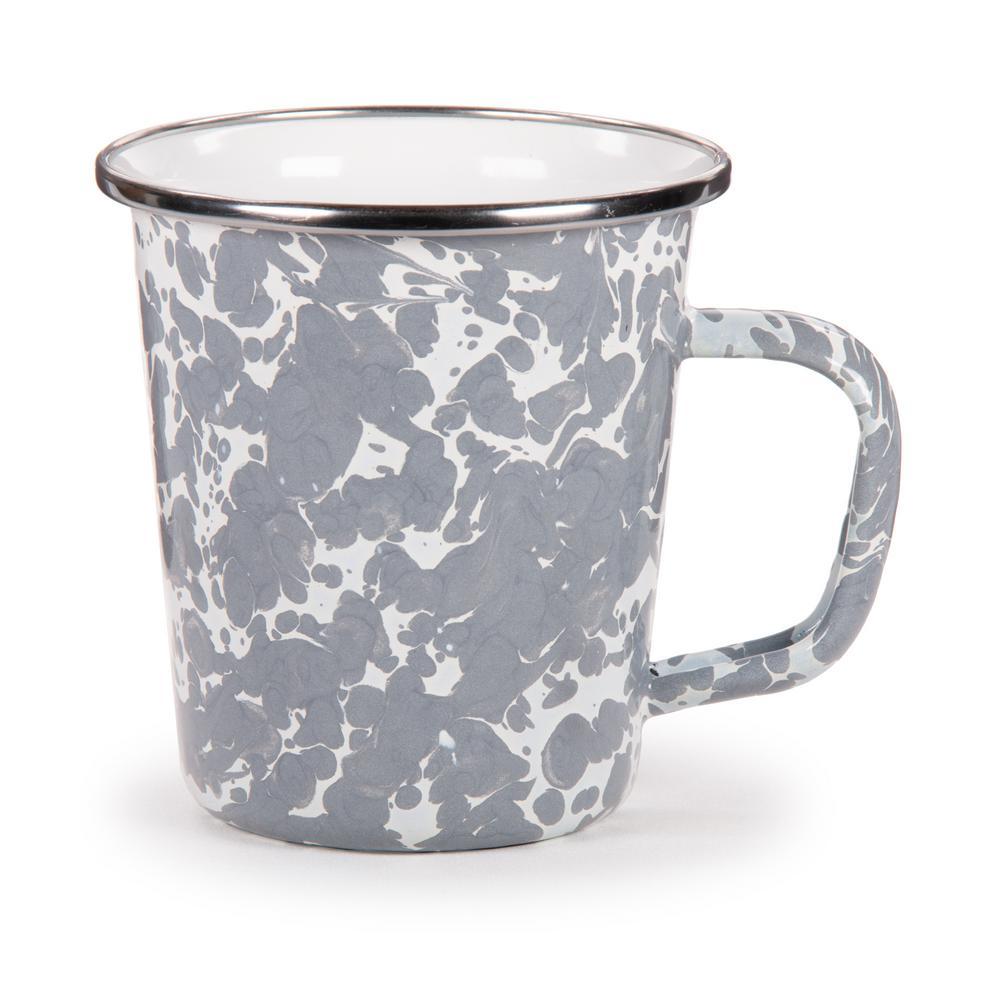 Golden Rabbit Grey Swirl 16 oz. Enamelware Latte Mug