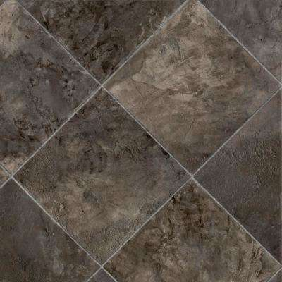 Marina Grey Tile Residential Vinyl Sheet, Sold by 13.2 ft. Wide x Custom Length