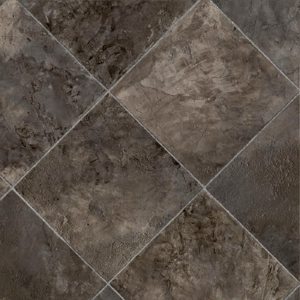Marina Grey Tile 13.2 ft. Wide x Your Choice Length Residential Sheet Vinyl Flooring