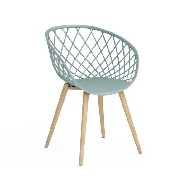 Kurv Cool Sage Arm Chair with Natural Wood Legs (Set of 2)