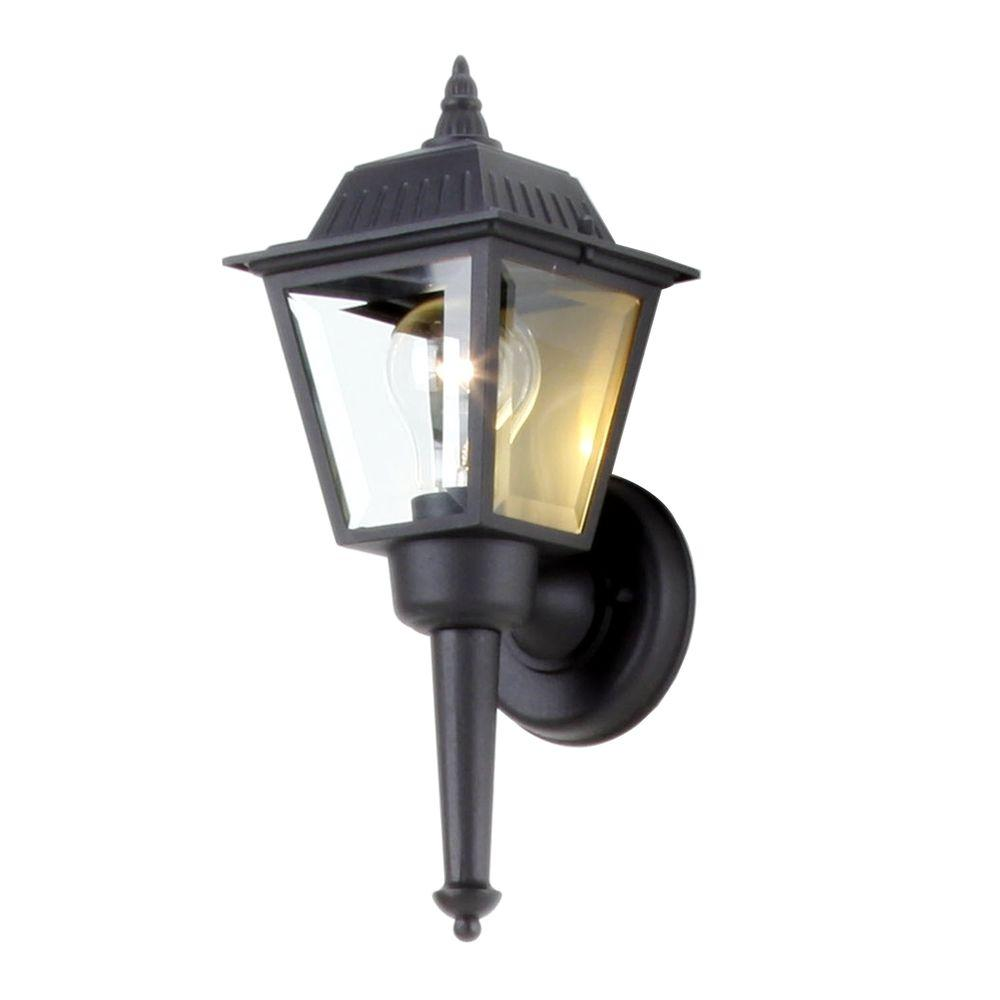 Hampton Bay 1 Light Black Outdoor Wall Mount Lantern