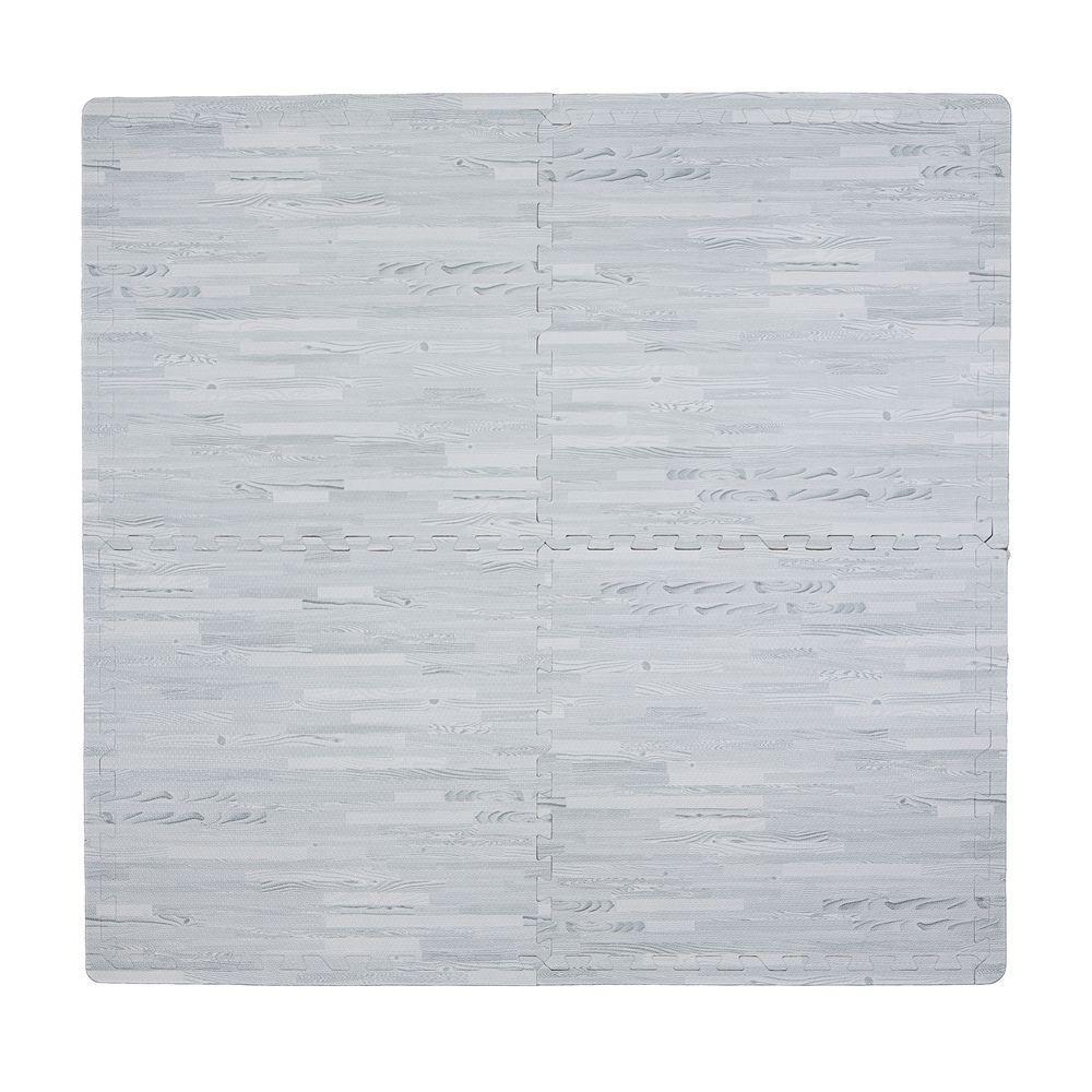 Wood Print Grey 50 in. x 50 in. EVA Floor Mat Set