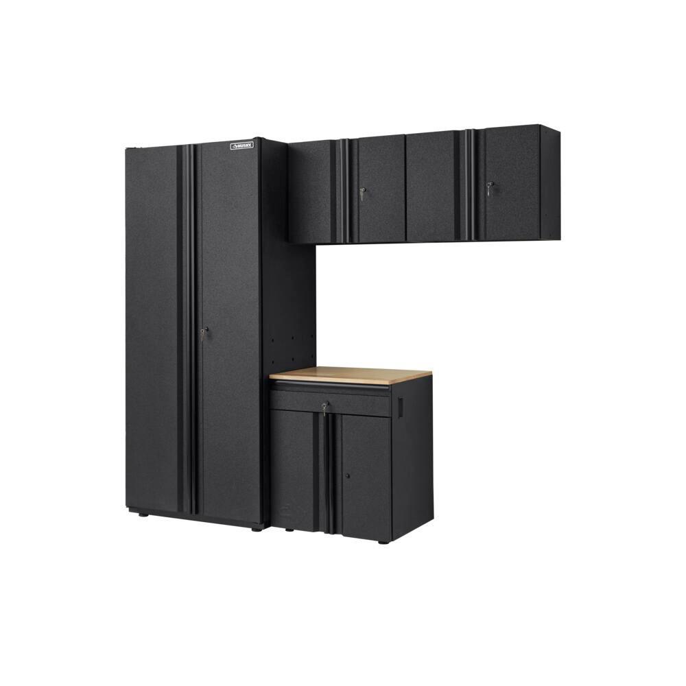 Heavy Duty Welded 92 in. W x 81 in. H x 24 in. D Steel Garage Cabinet Set with LINE-X Coating in Black (4-Piece)
