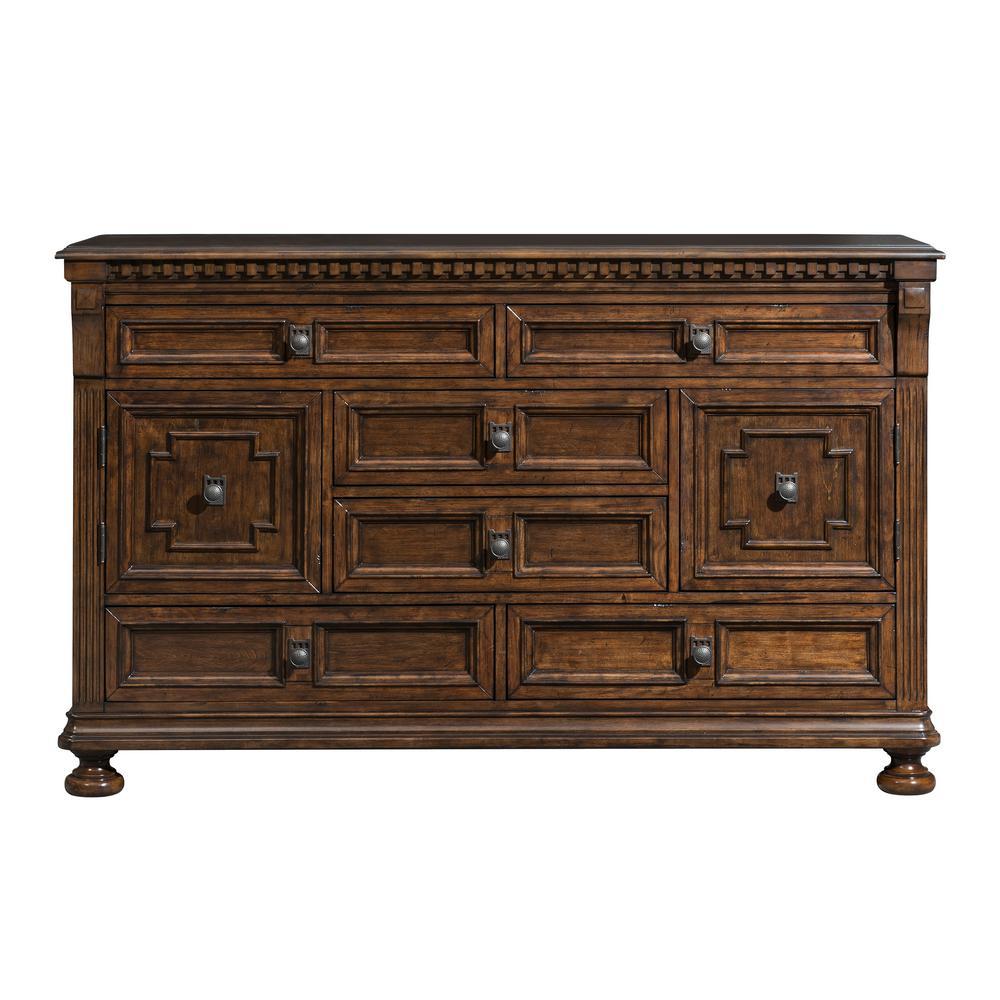 Henry 6-Drawer Walnut 18 in. Depth Dresser