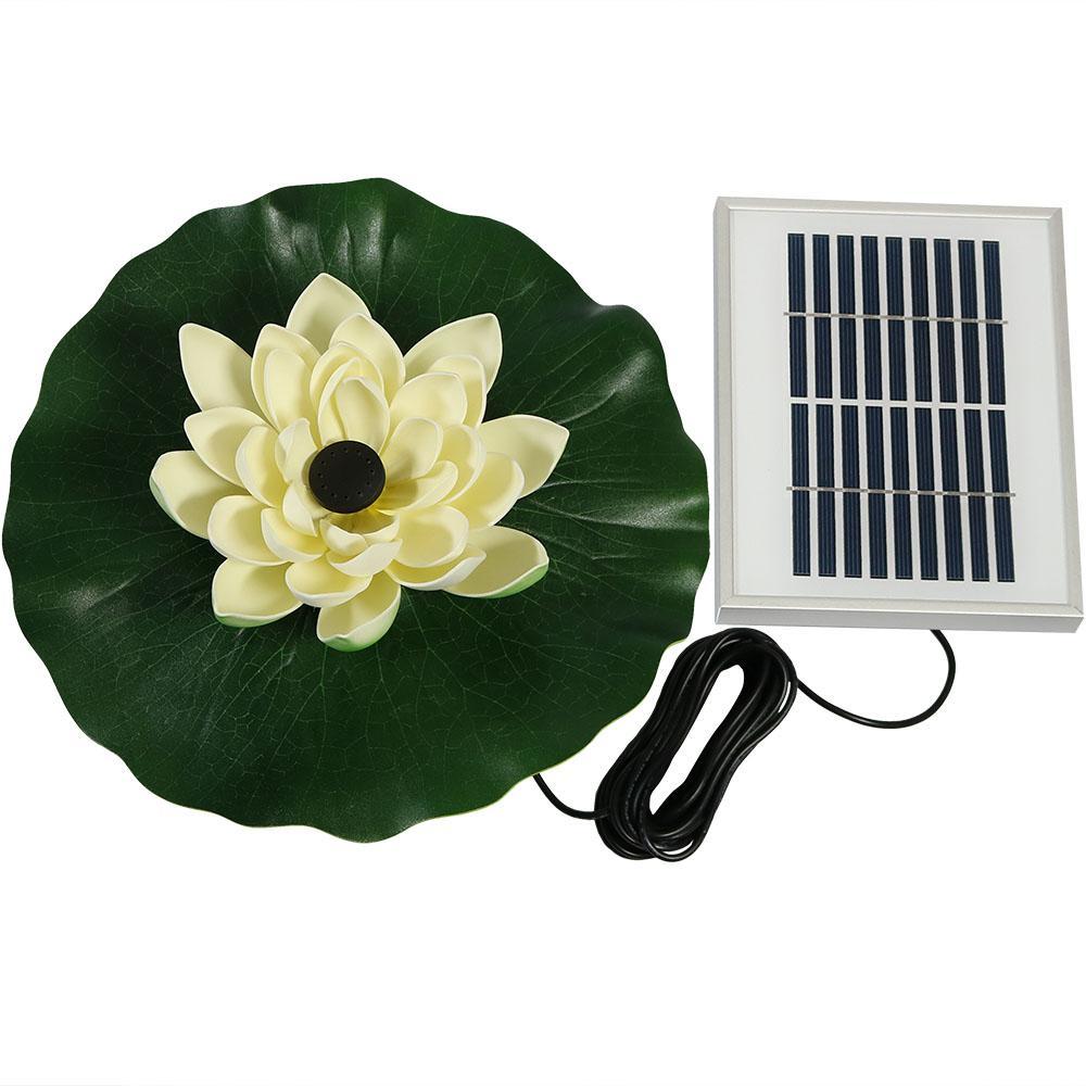48 GPH Solar Power Floating Lotus Flower Pond Garden Fountain Pump in White