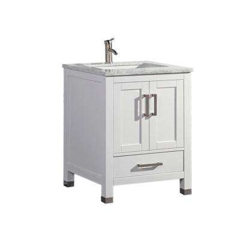 Reisa 30 in. W x 22 in. D x 36 in. H Bath Vanity in White with Grey/White Carrara Marble Vanity Top with White Basin