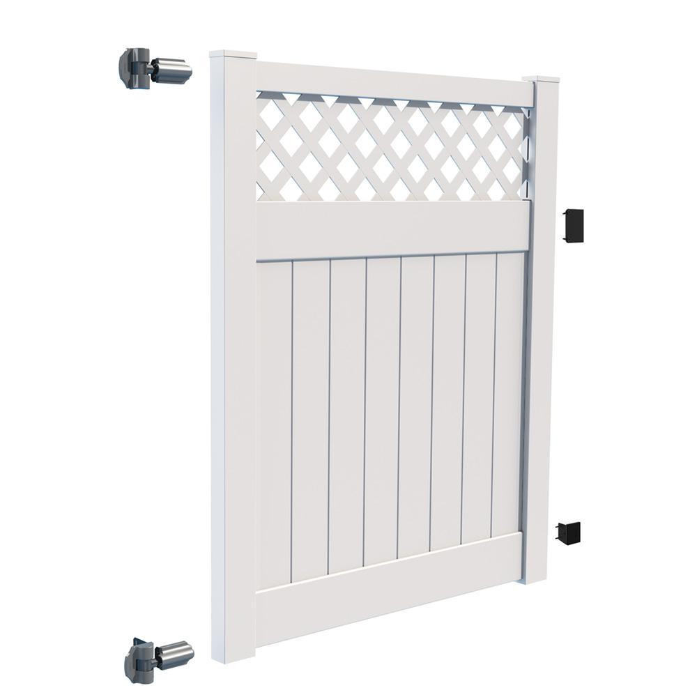 veranda 5 ft 6 ft white vinyl lattice top fence gate 73040113 the home depot