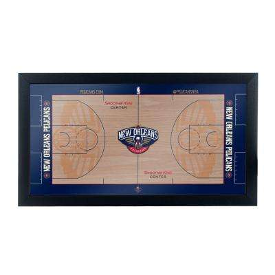 New Orleans Pelicans Official NBA Court 15 in. x 26 in. Black Framed Plaque