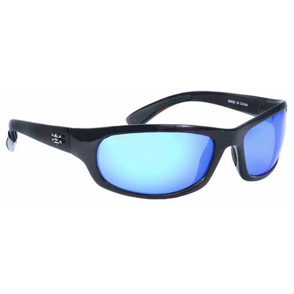 Tortoise Frame Steelhead Sunglasses with Blue Mirror Lenses