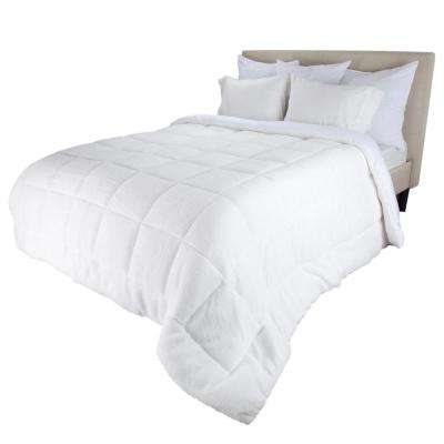 Oversized Reversible White Down Alternative Sherpa Full/Queen Comforter