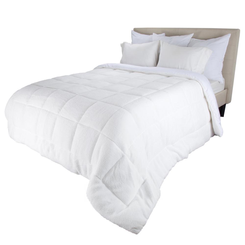 Oversized Reversible White Down Alternative Sherpa Twin Comforter