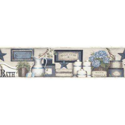 Country Bath Blue Rustic Wallpaper Border