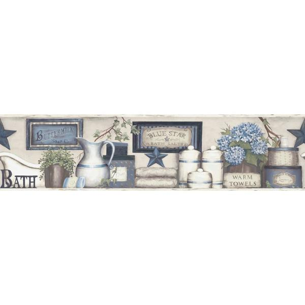 Chesapeake Country Bath Blue Rustic Wallpaper Border 3119 63104b The Home Depot