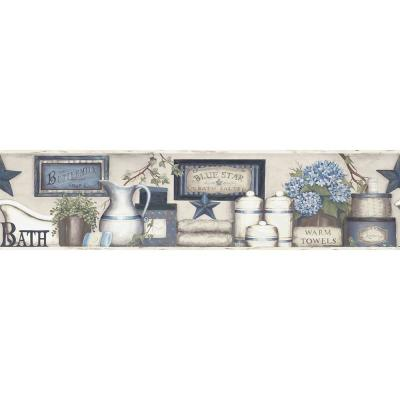 Country Bath Blue Rustic Blue Wallpaper Border Sample