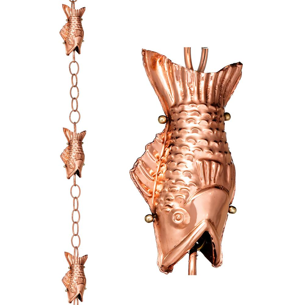 Good Directions Fish Pure Copper 8.5 ft. Rain Chain