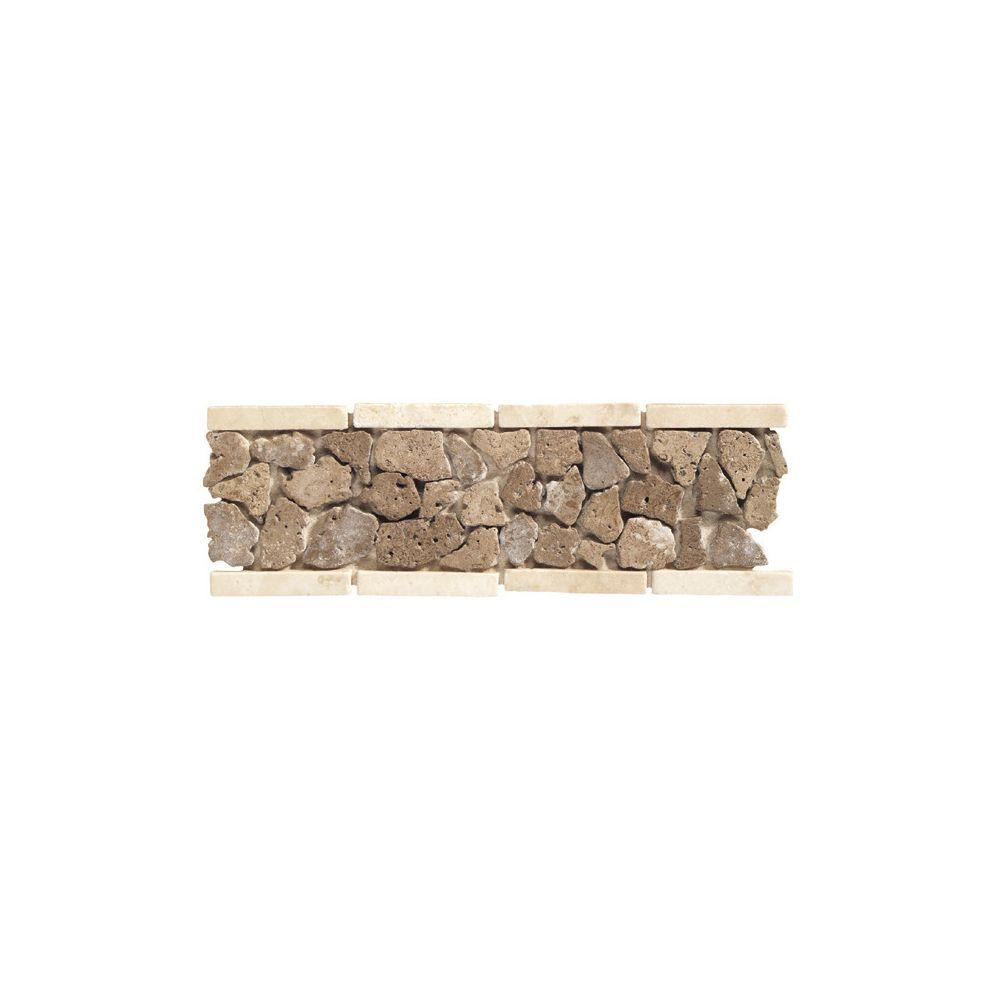 Daltile Travertine Walnut Pebble 4 In X 12 Tumbled Slate Liner Accent Wall
