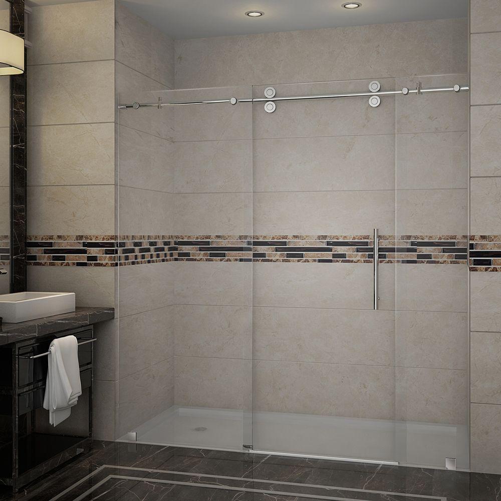 Langham 72 in. x 75 in. Completely Frameless Sliding Shower Door in Stainless Steel