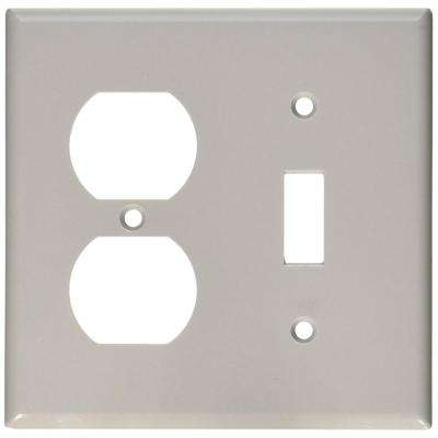 2-Gang Standard Size 1-Toggle 1-Duplex Receptacle Plastic Combination Wall Plate, Gray