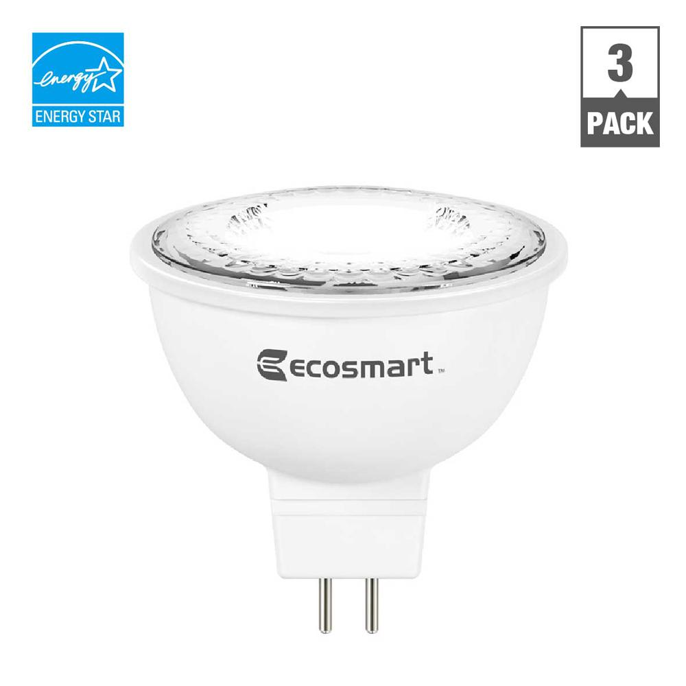 ecosmart 50 watt equivalent mr16 gu5 3 dimmable led light bulb bright white 3 pack. Black Bedroom Furniture Sets. Home Design Ideas