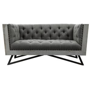 Armen Living Regis Grey Fabric With Black Metal Legs And Antique Brown Nailhead Accents Contemporary Loveseat
