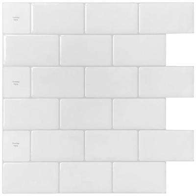 12 in. x 12 in. White Vinyl Subway Peel and Stick Decorative Wall Tile Backsplash (10-Pack)