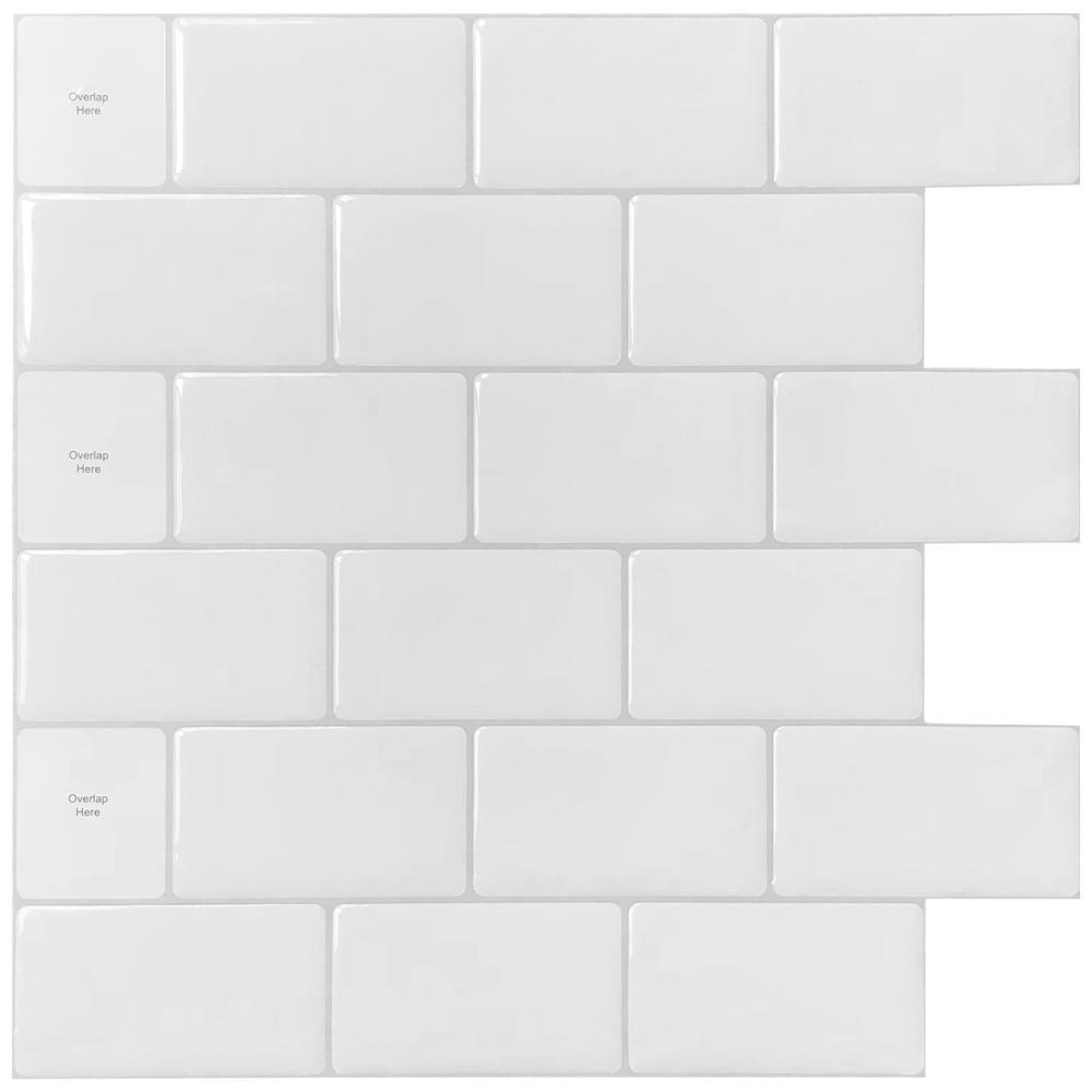 LONGKING 12 in. x 12 in. White Vinyl Subway Peel and Stick Decorative Wall Tile Backsplash (10-Pack)