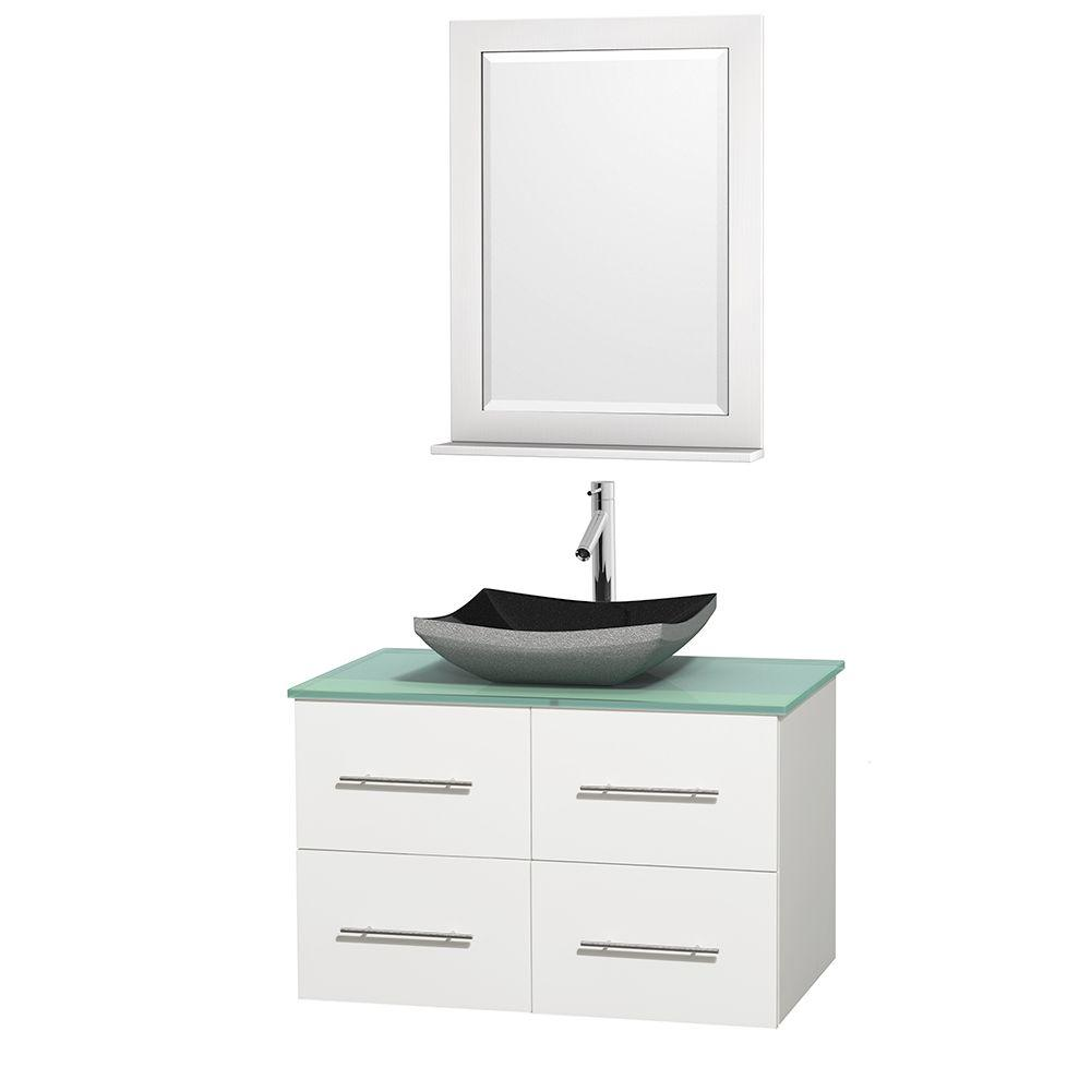 Wyndham Collection Centra 36 in. Vanity in White with Glass Vanity Top in Green, Black Granite Sink and 24 in. Mirror